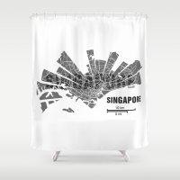 singapore Shower Curtains featuring Singapore Map by Shirt Urbanization