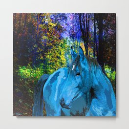 FANTASY HORSE BLUE I MET IN THE FOREST Metal Print