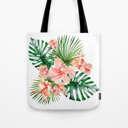 Tropical Jungle Hibiscus Flowers - Floral Tote Bag