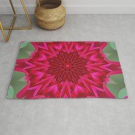 Fluid Nature - Pink Rose Mandala - Kaleidoscope Design Rug
