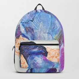 Goat Skull - multi-colored pencil drawing Backpack