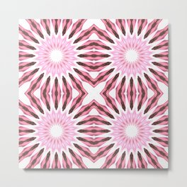 Pinwheel Flowers Pink Watercolor Metal Print