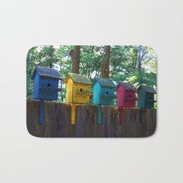 Bird Houses on a Fence Bath Mat