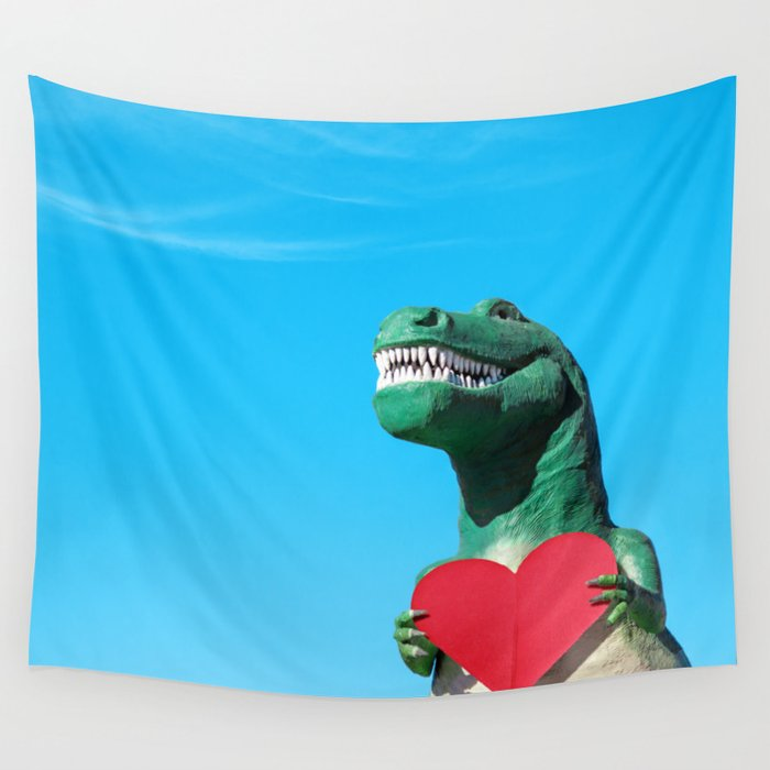 Tiny Arms, Big Heart: Tyrannosaurus Rex with Red Heart Wall Tapestry