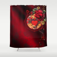valentine Shower Curtains featuring Valentine by The Victorian Fantasy