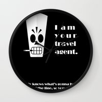 grim fandango Wall Clocks featuring Grim Fandango - Manny Calavera by bosphorus
