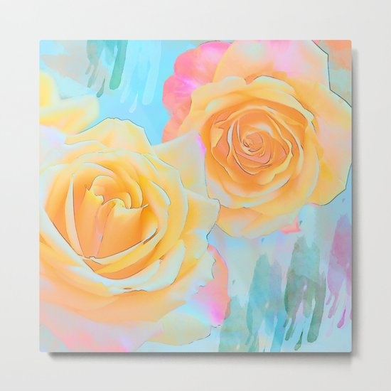 Pastel roses on an abstract water colour background Metal Print