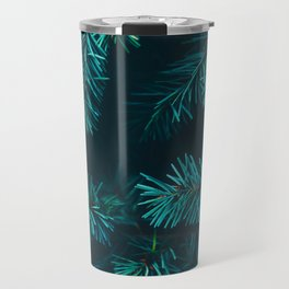Pine Tree Close Up Neon Green Colorful Leaves Against A Black Background Travel Mug