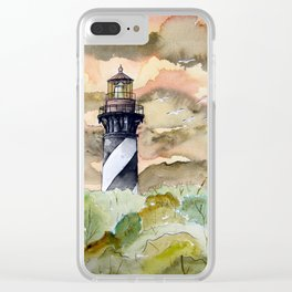 St Augustine Lighthouse Painting Clear iPhone Case