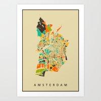amsterdam Art Prints featuring Amsterdam by Nicksman