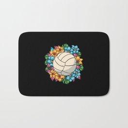 Volleyball With Colorful Flowers Hawaii Bath Mat