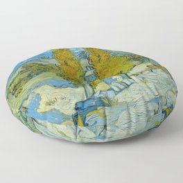 Two Poplars In The Alpilles Saint-Remy Van Gogh Floor Pillow