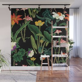 Vintage wild flowers black Wall Mural