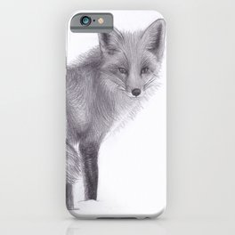 Red Fox Looking Back - Drawing Pencil Sketch Artwork iPhone Case