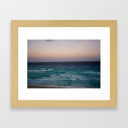 Beach and sky at sunset time Framed Art Print