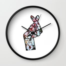 Love Finger Snap Crystals Wall Clock