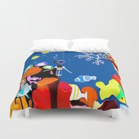 scuba Duvet Covers featuring Corky the scuba-diver by Dano77
