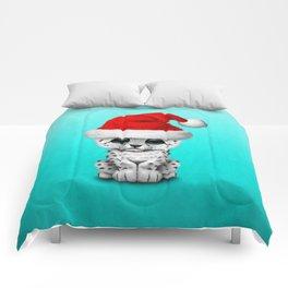 Christmas Snow Leopard Wearing a Santa Hat Comforters