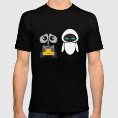 Wall-E and Eve LARGE Black Mens Fitted Tee
