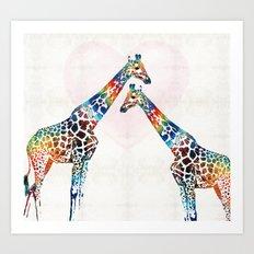 Colorful Giraffe Art - I've Got Your Back - By Sharon Cummings Art Print