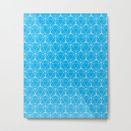 Icosahedron Pattern Bright Blue Metal Print