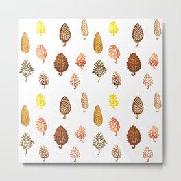 watercolor paintings of pine cones Metal Print