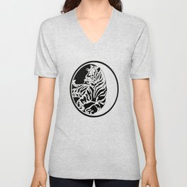 Tiger Tattoo - Black Unisex V-Neck