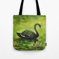 black swan Tote Bags featuring Black Swan by OLHADARCHUK