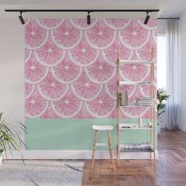 Zesty splice - pink grapefruit Wall Mural