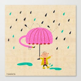 one of the many uses of a flamingo - umbrella Canvas Print