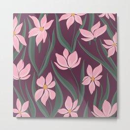 Floral Pattern - dark pink Metal Print