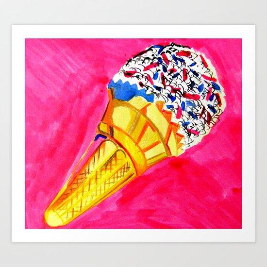 ice Cream into the Pink Art Print