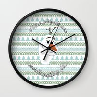olaf Wall Clocks featuring Olaf the Snowman by Fox and Bunny Co.