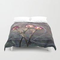 depression Duvet Covers featuring Trapped Roses by Maria Heyens