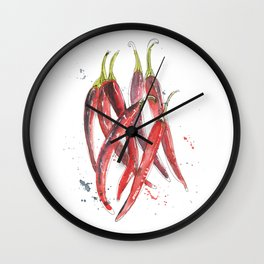 Red Chillies Wall Clock