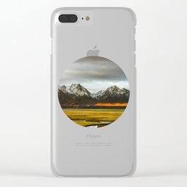 Iceland Landscape Grass Orange Sand & Grey Mountains Round Frame Photo Clear iPhone Case