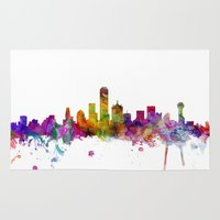 dallas Area & Throw Rugs featuring Dallas Texas Skyline by artPause