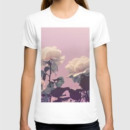 Vintage Spring Pearl White Roses Lavender Sky T-shirt