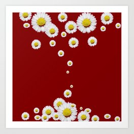 WHITE CASCADING DAISIES ON BURGUNDY Art Print