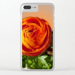 Red flower with orange background Clear iPhone Case
