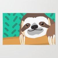 brad pitt Area & Throw Rugs featuring Brad Sloth by AEle