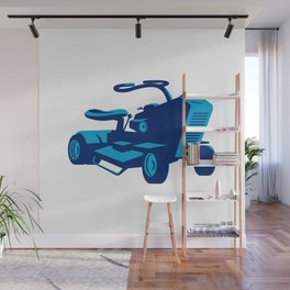 vintage ride on lawn mower retro Wall Mural