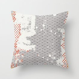 Crayon Bright Grey Geometric Shabby Abstract Collage Print Throw Pillow