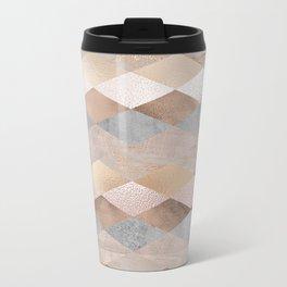 Copper and Blush Rose Gold Marble Argyle Metal Travel Mug