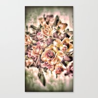 shabby chic Canvas Prints featuring Shabby Charm Chic Roses by Joke Vermeer