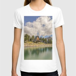 Lake in the high mountains near an alpine chalet T-shirt