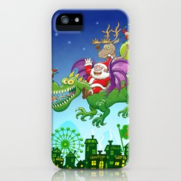 Santa changed his reindeer for a dragon iPhone Case