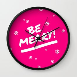 Bright Pink Be Merry Christmas Snowflakes Wall Clock
