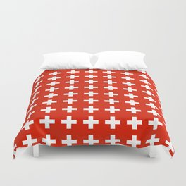 flag of switzerland 2-Switzerland, Alps,swiss,Schweizer,suisse,zurich,bern,geneva Duvet Cover