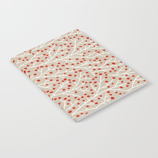 Red & White Berry Branches Notebook